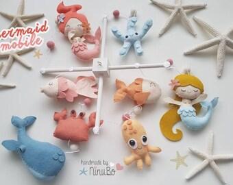 Mermaid Baby Mobile - Ocean Baby Mobile - Sea Creatures Baby Mobile - Cot Mobile - Crib Mobile- whale mobile