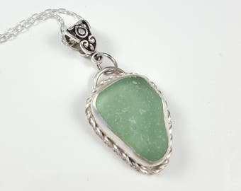 Sea Glass Necklace Sea Glass Jewelry Aqua Sea Glass Necklace Beach Glass Jewelry - N-565 Mothers Day Gift