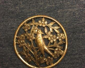 Vintage circular bird pin