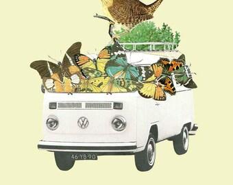 Volskwagen Van Collage, Collage Print, Illustration Collage, Collage Art, Nature, Bird, Slow Life, Van, Butterfly