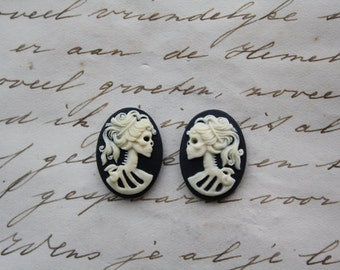 Skeleton lady cameo cabs. Skull day of the dead lolita 18x13mm - 10 PIECES LEFT and RIGHT
