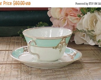 ON SALE Antique Mint Green and Gold Filigree Demitasse Gold Filigree Pattern Tea Cup Set Fine Bone China Ca. Mid 1800s Bridesmaid Luncheon