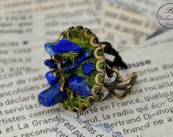 """Géologhia"" Steampunk Adjustable ring: Lapis Lazuli"