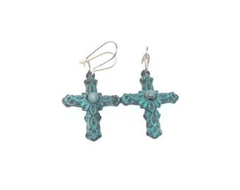 Cross Earrings, Patina Cross Earrings, Earrings With Cross, Earrings With Kidney Hooks