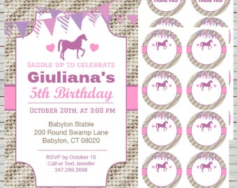 Horse Invitation Saddle Up ~ Instant Download Editable Templates 4x6, use as Thank You Notes, Games cards, Round Tags, Editable Tags BD24