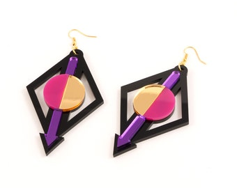 Geometric Perspex Statement Earrings - Purple, Pink, Gold FORM_002