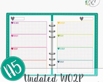 A5 Undated Week on 2 Pages grid Filofax Planner Printable Instant Download