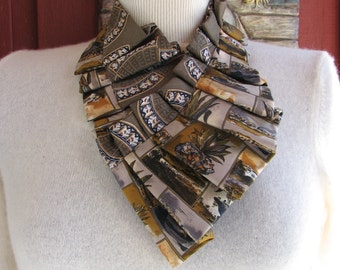 Ruffled Silk Ascot - Silk Scarf - Edwardian Collar
