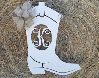 Boot Door Hanger - Cowgirl - Cowboy - Western Wreath - Western Wreath