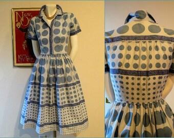 SALE**Vintage 50s Modern Classic Blue Polka Dot Shirtwaist Dress
