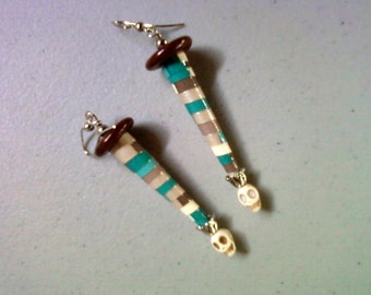 Teal, Taupe, Brown and Ivory Skull Earrings (1301)