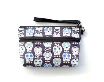 Bonehead Sugar Skull  Wristlet with removable strap - punk rock