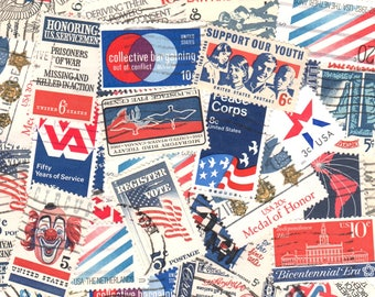 35 Red White and Blue Vintage Postage Stamps