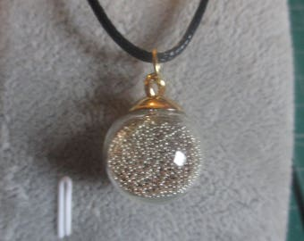 Bauble style necklace with silver Czech beads inside