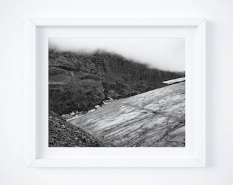 Black and white Iceland print -  Glacier photography - Travel photo - Large wall art - Framed fine art - Holiday gift - Nature photo print