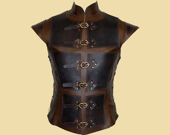 Reinforced jerkin for men made of leather - Deluxe- Larp, Fantasy