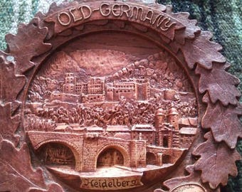 Old-Germany Heidelberg Wooden Carved Decorative Plate Made in Bavaria