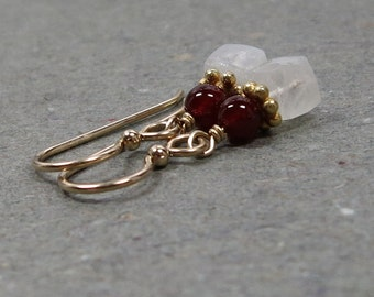 White Moonstone Earrings Carnelian Petite Geometric Jewelry Gold Earrings