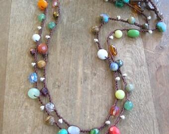 Colorful crochet necklace, Boho jewelry, long boho necklace Gypsy hippie bohemian wrap bracelet, hippie chic, czech glass beads, gemstones