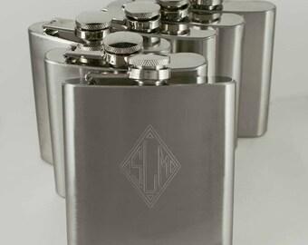 Groomsman Gift, Eight personalized stainless steel flasks, metal flask, hip flask, monogramed flask, pocket flask