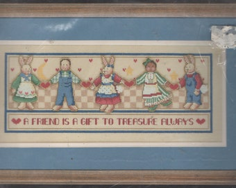 Treasure a Friend Counted Cross Stitch Kit by Dimensions Sampler with A Friend is a Gift to Treasure Always