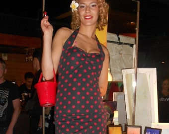 Black and Red Polka dot Two Piece swim dress retro pin-up swimsuit