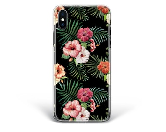 Flowers Tropical case Leaves Phone case iPhone X case iPhone 8 Plus case Silicone cover Clear case iPhone 7 case iPhone 6s case iPhone 5