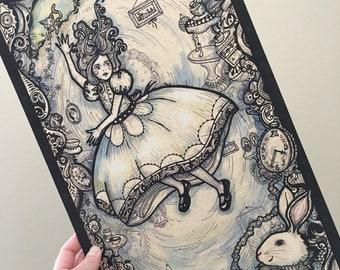 Alice in Wonderland Illustration: Alice Falling