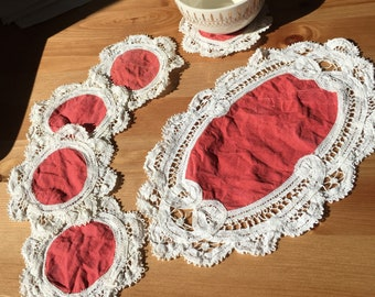 Set of 5 lace fringed coasters with center piece
