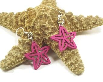 Hot Pink Earrings, Wooden Star Charm Dangle Earrings, Starfish Charm Earrings