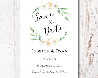 Floral Save the Date Card - Wedding Announcement Cards, White Floral Wedding Save the Date Card