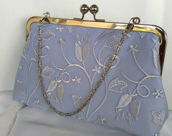 periwinkle blue lavender wedding summer evening bridal prom clutch purse BBsCustomClutches