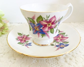 Vintage Royal Imperial Teacup and Saucer | Vintage Teacup, Tea Party Teacup, Floral Teacup, Bone China Teacup, English Teacup