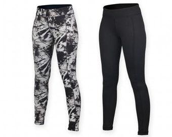 Ladies Reversible Leggings Black Print