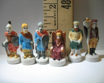 KINGS & WARRIORS Attila Viking Charlemange William the Conquerer- French Feve Feves Porcelain Figurines King Cake Baby Doll House Miniatures