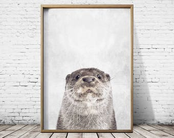 Otter Print Beaver Print - Woodlands Print - Otter Wall Art - Otter Poster - Otter Art -  Animal Prints - Otter Decor
