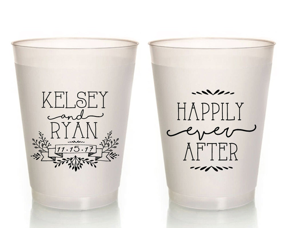 Personalized Wedding Cups Happily Ever After Custom Wedding