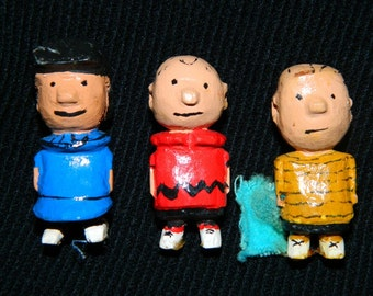 Vintage Hand Carved, Charlie Brown, Lucy, Linus, Hand Painted, Miniatures, Primitive, Charles Schulz Cartoon Characters