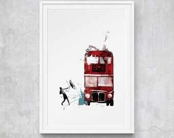 A3 London Bus Graphic Print by CT Illustration, Limited Edition Art Print