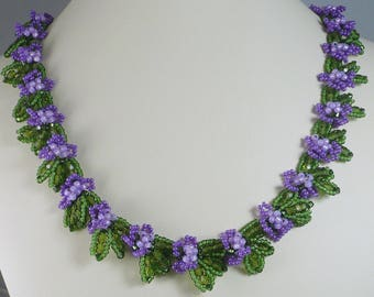 Woven Floral Necklace Purple and Green Adjustable Necklace Gifts for Mom