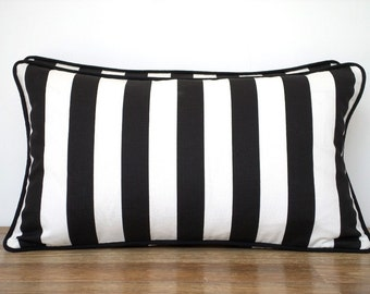 Black and white pillow cover dorm room decor, black throw pillow with piping, stripe cushion case , block striped cushion cover gift for him