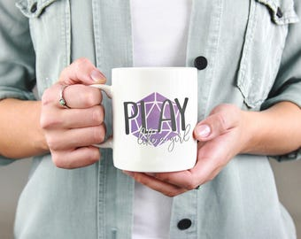 Dungeons and Dragons | Play like a Girl| Mug - Purple, DnD, RPG, Gamer, D&D