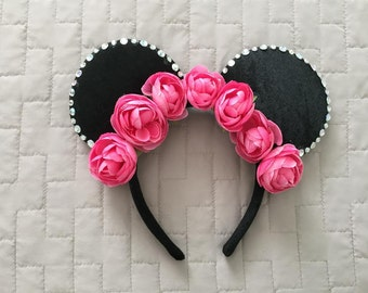 Pink Rose Flower Crown Mouse Ears