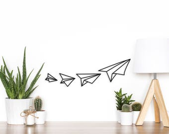 Set of 4  wooden planes - wall decor wood - decor kids room - nursery decor - paper planes made of wood - origami planes - boys room decor