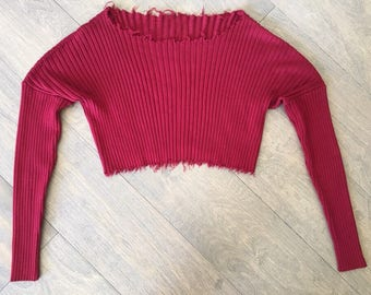 Distressed Ribbed Crop Sweater