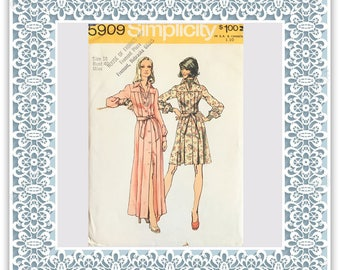 Simplicity 5909 (1973) Misses' dress in two lengths - Vintage Uncut Sewing Pattern