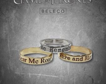 Game of Thrones Jewelry, Game of Thrones Rings, GOT, House Slogans, Targaryen, Jon Snow,  Khaleesi, Lannister, Stark, GOT7, GOT Jewellery