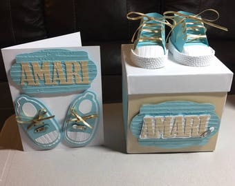 Baby Boy Personalized Card and Keepsake Box, Baby Shower, Baby Shower Card,  Baby Shower Gift Box. Baby Sneaker Card, Cardstock Baby Sneaker