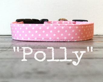 Pink DOG COLLAR, Dog Collars, Dog Collar for Girls, The Polly, Pretty Dog Collars, Polka Dots, Cool Dog Collars