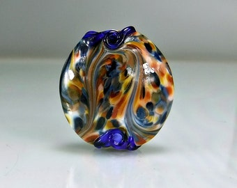 Blue Orange Yellow Lentil Lampwork Focal Bead SRA Glass Beads